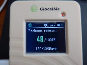 GlocalMe G1S Data Display