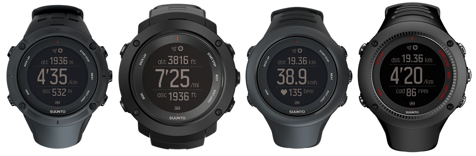 Suunto Ambit3 Waterproof (50-meter and 100-meter WR) GPS Smartwatches - Peak, Vertical, Sport, Run
