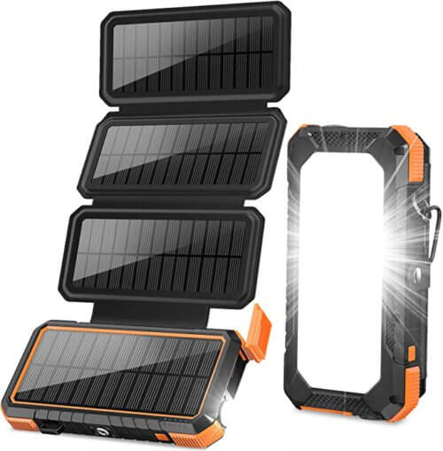 Blavor 20000mAh Solar Charger with 4 Solar Panels and Lantern