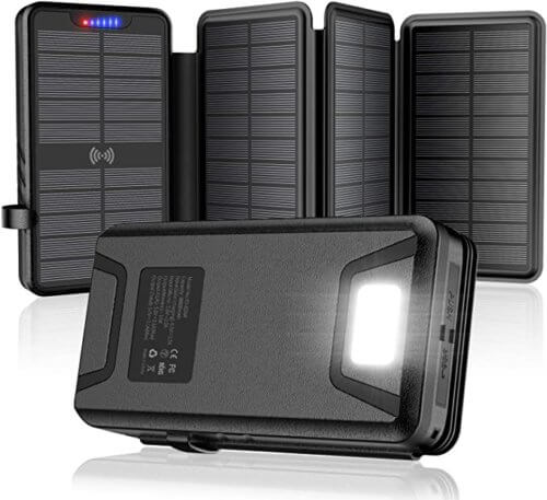 QiSa 35800mAh Power Bank with Qi Wireless and 4 Solar Panels